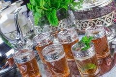 Moroccan mint tea glasses Stock Images