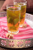 Moroccan mint tea on a tray Royalty Free Stock Image