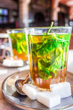 Moroccan mint tea. A typical tea served in a terrace of marrakech royalty free stock images