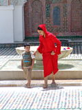 Moroccan Mother and Child. A mother and her son at the Karaouiyine Mosque in Fes, Morocco - July, 2010 Stock Image