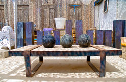 Moroccan oil lamps on table stock photos