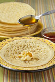 Moroccan pancakes with butter and honey Royalty Free Stock Photos