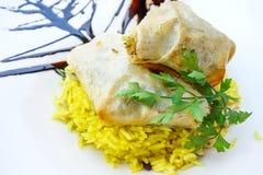 Moroccan Pastilla with saffron rice Stock Photo