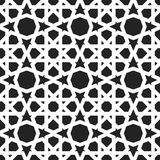 Moroccan pattern. Eastern traditional style. Oriental endless ornament, white lines, circles and stars on black background. For textile and linen design Royalty Free Stock Photography