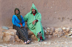Moroccan People 1. Typical streetscene in a smal village in the Valley of the Draa River, Morocco Royalty Free Stock Photos
