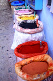 Moroccan pigments. For textile dyeing Stock Photo