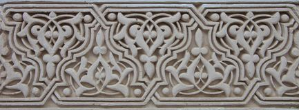 Moroccan Plaster Arabesque Carving. Moroccan Plaster Arabesque  panel on a wall in a riad in Fes, Morocco Royalty Free Stock Photography