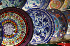 Moroccan plates on the market Stock Images