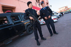 Moroccan police with gun Royalty Free Stock Photography