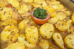 Moroccan potato at a hotel restaurant buffet Stock Images