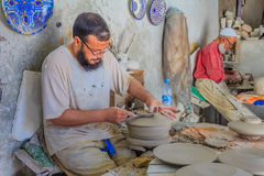 Moroccan potter at work Royalty Free Stock Image