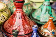Moroccan pottery displayed in a market in Fez. Colorful Moroccan pottery on display in a market stock photography