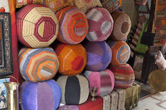 Moroccan poufs for sale Royalty Free Stock Image