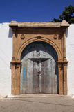 Moroccan riad door,. Typical, old Berber blue Moroccan riad door in  Azemmour, El Jadida, Morocco Royalty Free Stock Photo