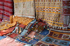 Moroccan Rugs. For sale near Marrakech, Morocco Royalty Free Stock Image