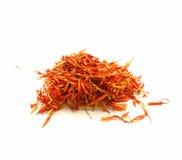 Moroccan saffron treads in pile, macro shot Stock Image