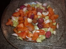 Moroccan salad. Fresh Moroccan salad in tangier city Royalty Free Stock Photo
