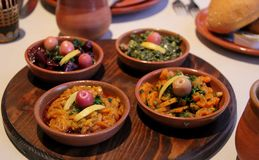 Moroccan Salads. Cold Moroccan Salads served at a restaurant in Casablanca, Morocco Royalty Free Stock Image