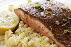 Moroccan Salmon with Cous Cous Stock Photos