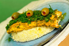 Moroccan Salmon with couscous Royalty Free Stock Photography