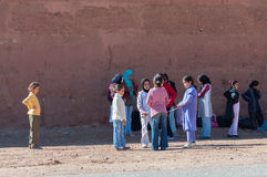 Moroccan school kids waiting for the bus Stock Photos