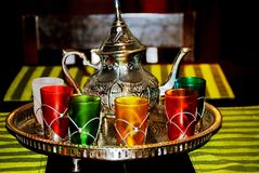 Moroccan set of cups and teapot Stock Images