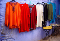 Moroccan shirts. Out the door of shop in Medina, Cheafchaouen (Northern Morocco Stock Image