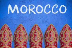 Moroccan shoes, travel concept header. Template Royalty Free Stock Image