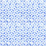 Moroccan simple seamless tile - navy watercolor vector illustration