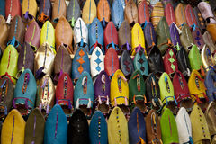 Moroccan slippers for sale. In the souk of Marrakesh, Morocco, April 1, 2012 Royalty Free Stock Photos
