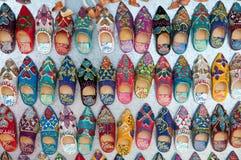 Moroccan slippers souvenir. Colorful Moroccan slippers souvenir closeup Stock Images