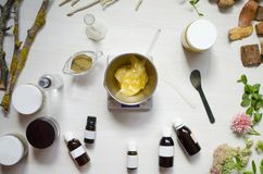 Moroccan soap preparation. Natural cosmetics recipe. Essential o. Ils and herbal composition ingredients Stock Photos