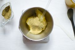 Moroccan soap preparation. Natural cosmetics recipe. Essential o Royalty Free Stock Image