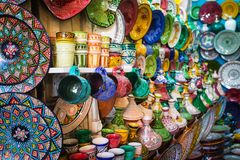 Moroccan souk crafts souvenirs in medina, Essaouira, Morocco.  stock photography