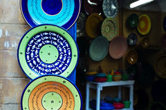 Moroccan souk crafts souvenirs in medina, Essaouira, Morocco Royalty Free Stock Photography