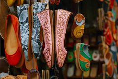 Moroccan souk crafts souvenirs in medina, Essaouira, Morocco Royalty Free Stock Photo