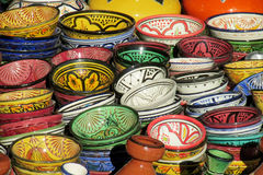 Moroccan souvenir colorful bowls Royalty Free Stock Images
