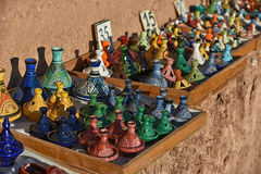 Moroccan souvenirs, traditional tagine. Traditional Moroccan souvenirs for sale on the street Royalty Free Stock Image