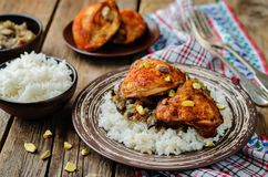 Moroccan spiced chicken with dates and aubergines. Toning. selective focus Stock Image
