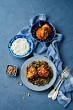 Moroccan spiced chicken with dates and aubergines. Toning. selective focus Stock Photography
