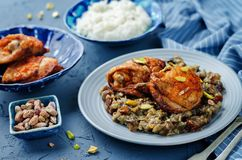 Moroccan spiced chicken with dates and aubergines. Toning. selective focus Royalty Free Stock Photos