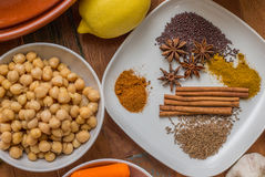 Moroccan spices and chick peas Stock Photos