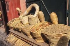 Moroccan Spices in Marrakesh Bazaar Stock Photo