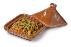 Moroccan square tagine with meat, green beans and carrots Royalty Free Stock Photo