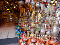 Moroccan store with iron products. And utensils Royalty Free Stock Photos