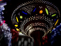 Moroccan style lamp with glass inset, exotic, mysterious. Royalty Free Stock Photography