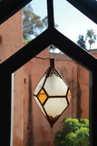 Moroccan style lamp. Handmade glass and brass lamp Arabic style stock image