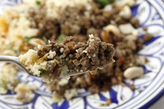 Moroccan style minced meat on a fork Stock Images