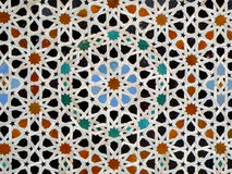 Moroccan Style Star Pattern Blue Orange Black Color Tiled Wall in Fez, Morocco Stock Image