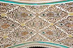 Moroccan style stucco background. Stucco details of Bahia Palace in Marrakesh, Morocco Royalty Free Stock Photos